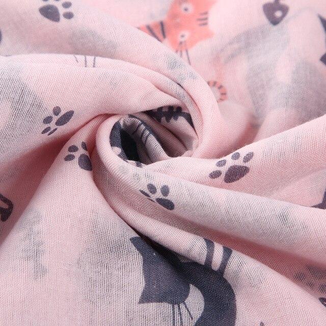 Neue Design Frau Dame Nette Katze Gedruckt Schal Tier Muster Weibliche Schal Wraps Pashmina