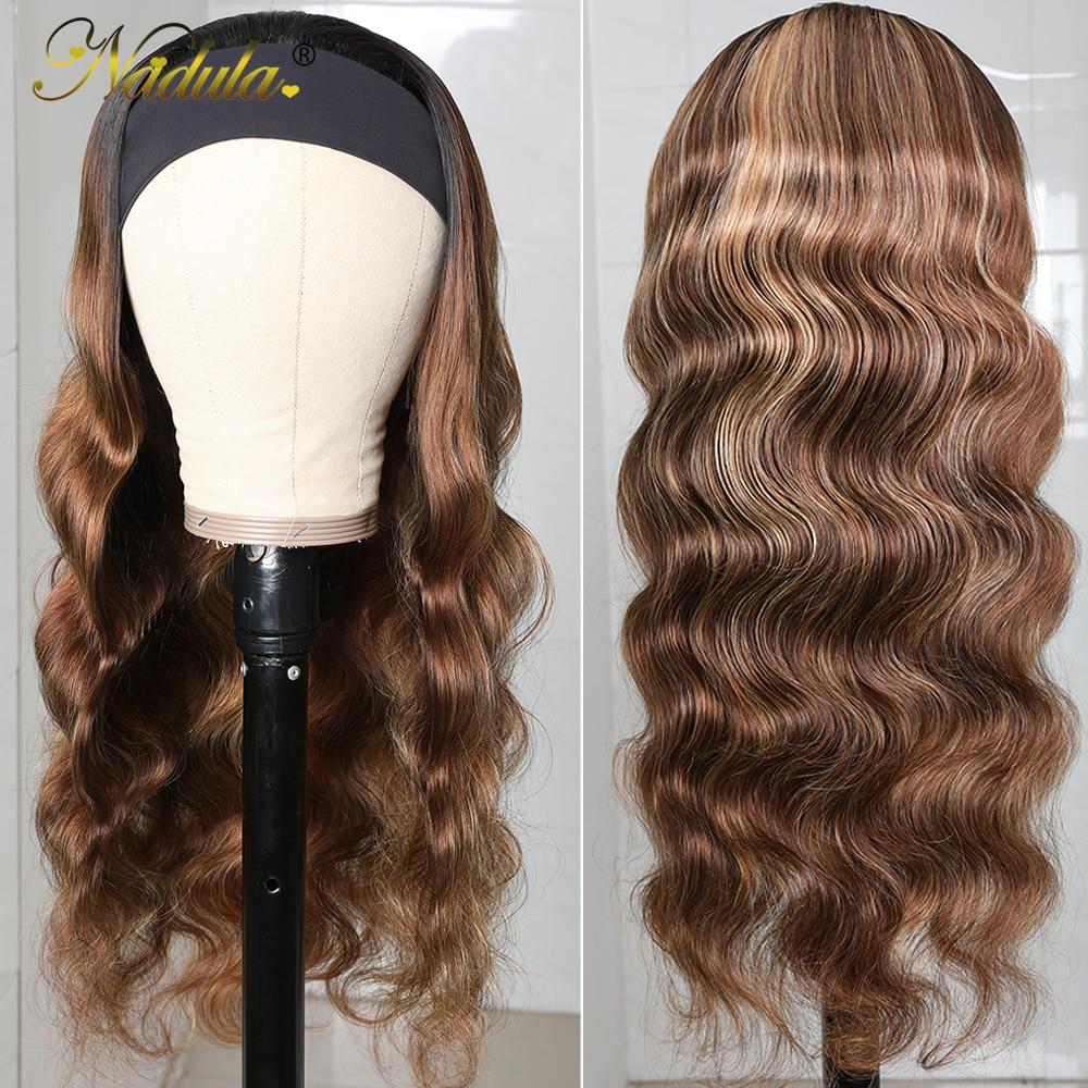 Nadula Highlight Straight Hair with Dark Roots Headband Wig  Honey Blonde Color Straight Hair Headband Wigs for Women 3