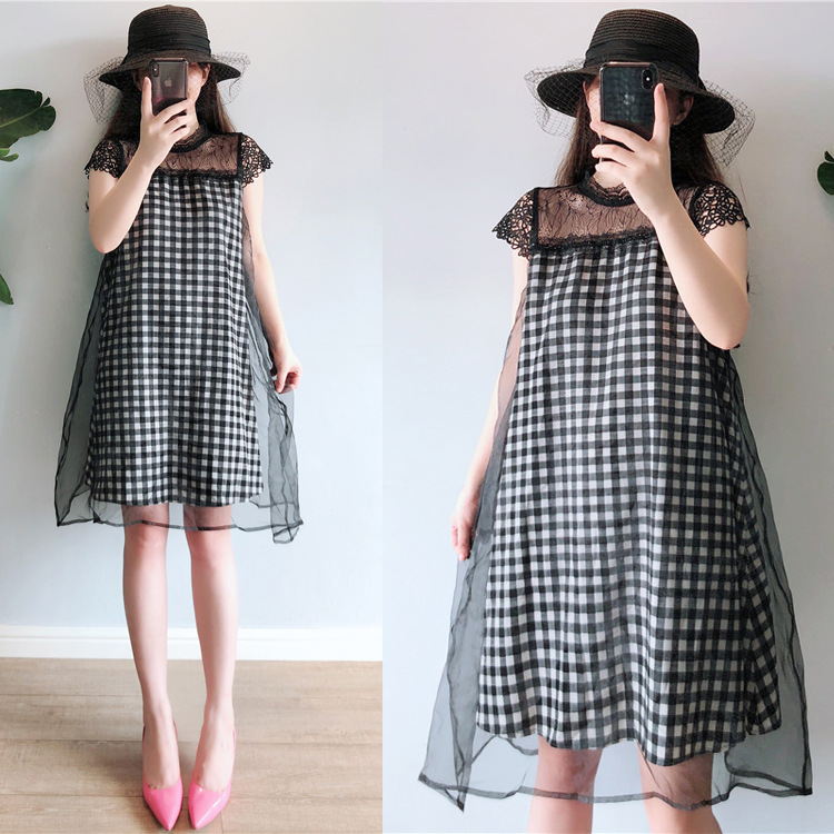 2019 Summer Wear Korean-style Large Size Dress New Style Fat Mm Slimming Loose-Fit Versatile Gauze Joint Plaid Dress