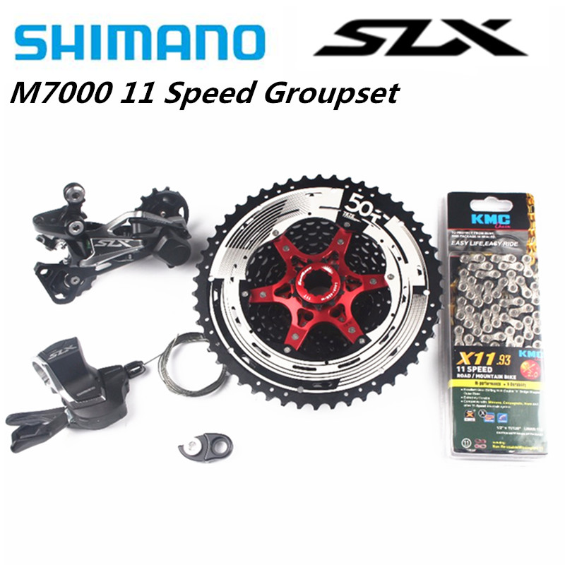 <font><b>Shimano</b></font> <font><b>SLX</b></font> <font><b>M7000</b></font> 4pcs Bike Bicycle MTB 11 Speed Kit <font><b>Groupset</b></font> Shifter With SunRace Cassette And Adapter KMC Chain 11-46T 11-50T image