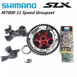 Shimano SLX M7000 4pcs Fiets MTB 11 Speed Kit Groepset Shifter Met SunRace Cassette En Adapter KMC Ketting 11-46T 11-50T