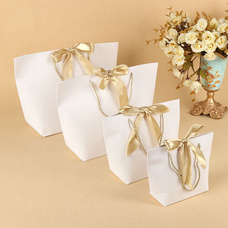 10pcs Present <font><b>Box</b></font> wedding <font><b>Gift</b></font> Bags <font><b>Large</b></font> Size <font><b>Box</b></font> Pack Bag Pajamas Clothes <font><b>Packaging</b></font> Gold Handle Paper <font><b>Box</b></font> Bags With Ribbon image