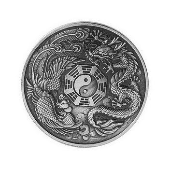 Medalla Conmemorativa dragón y Fénix hongxiang moneda conmemorativa dragón y Fénix Animal insignia colección regalo 66C