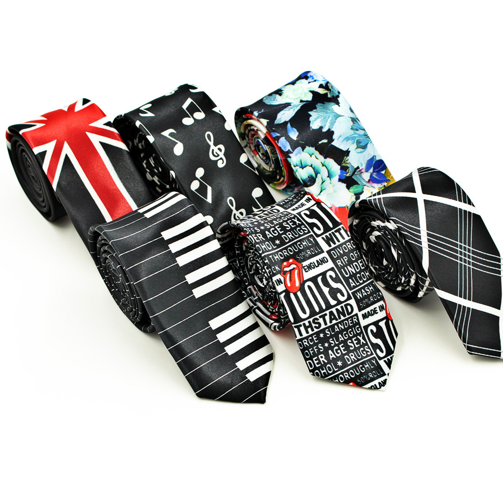 Koreanvintage Neck Tie Men's Printed Polyester Small Narrow Ties Casual British Pattern Skinny Rtro Neckties Men Accessories