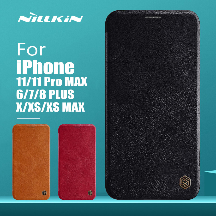 Para iPhone 11 Pro Max X XR XS Max Caso Nillkin Qin Luxo Flip Leather Case Phone Case para iPhone 11 8 7 6 6 S Plus 5 5S SE Capa