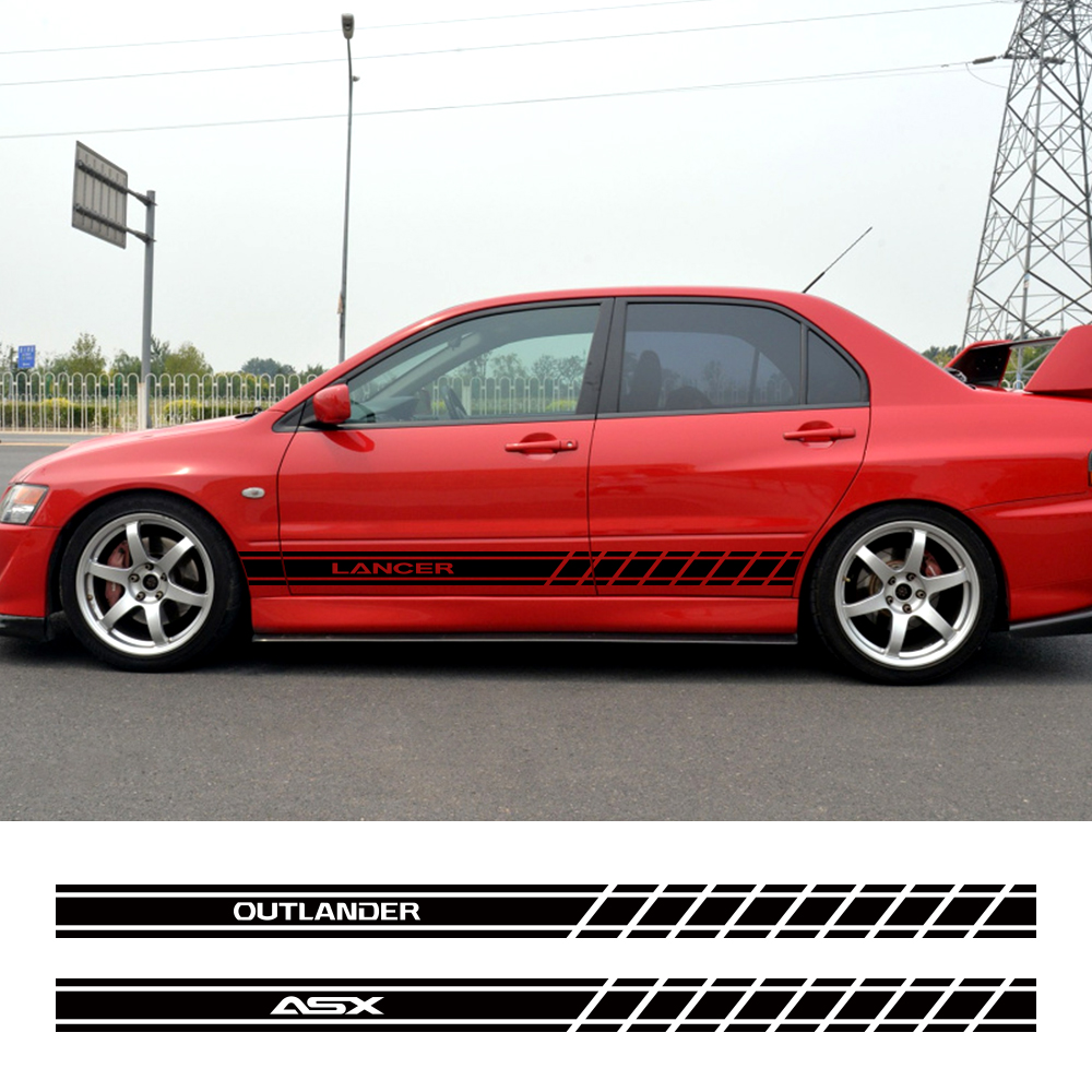 2PCS Car Door Side Skirt Stripes Stickers For Mitsubishi Lancer 10 3 9 EX Outlander 3 ASX L200 Ralliart Competition Accessories