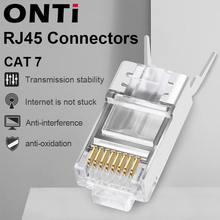 Сетевой кабель коннектор onti rj45 10/50/100 шт cat6a cat7 разъем