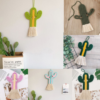 Cactus Tapestry Macrame Wall Hanging Toy Nordic Room Decoration  Handmade Weaving Plants Ornament Boho Baby Kids Room Wall Decor large macrame tapestry macrame wall hanging farmhouse decor makramee room decoration tapestry wall gift for women