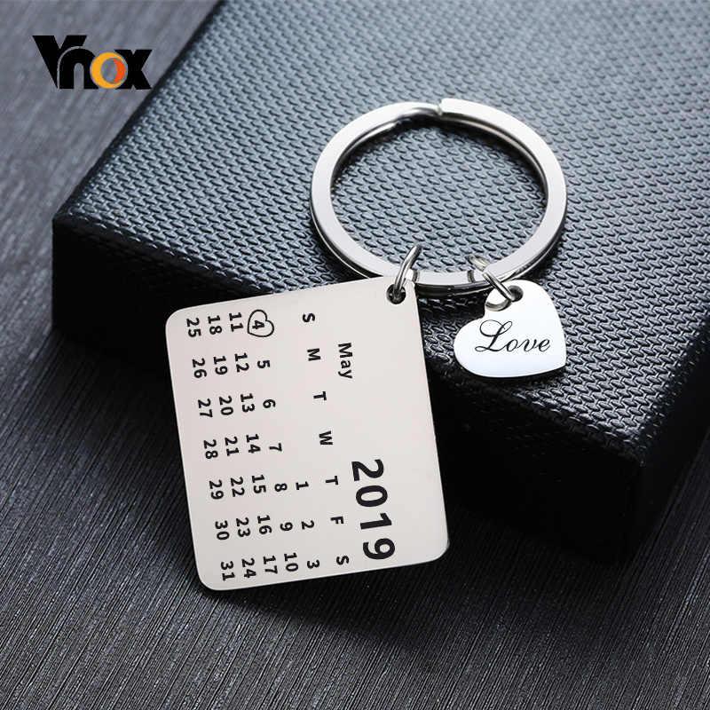 Vnox livre personalizado jóias calendário casamento aniversário data chaveiros promessa de aço inoxidável presentes amor