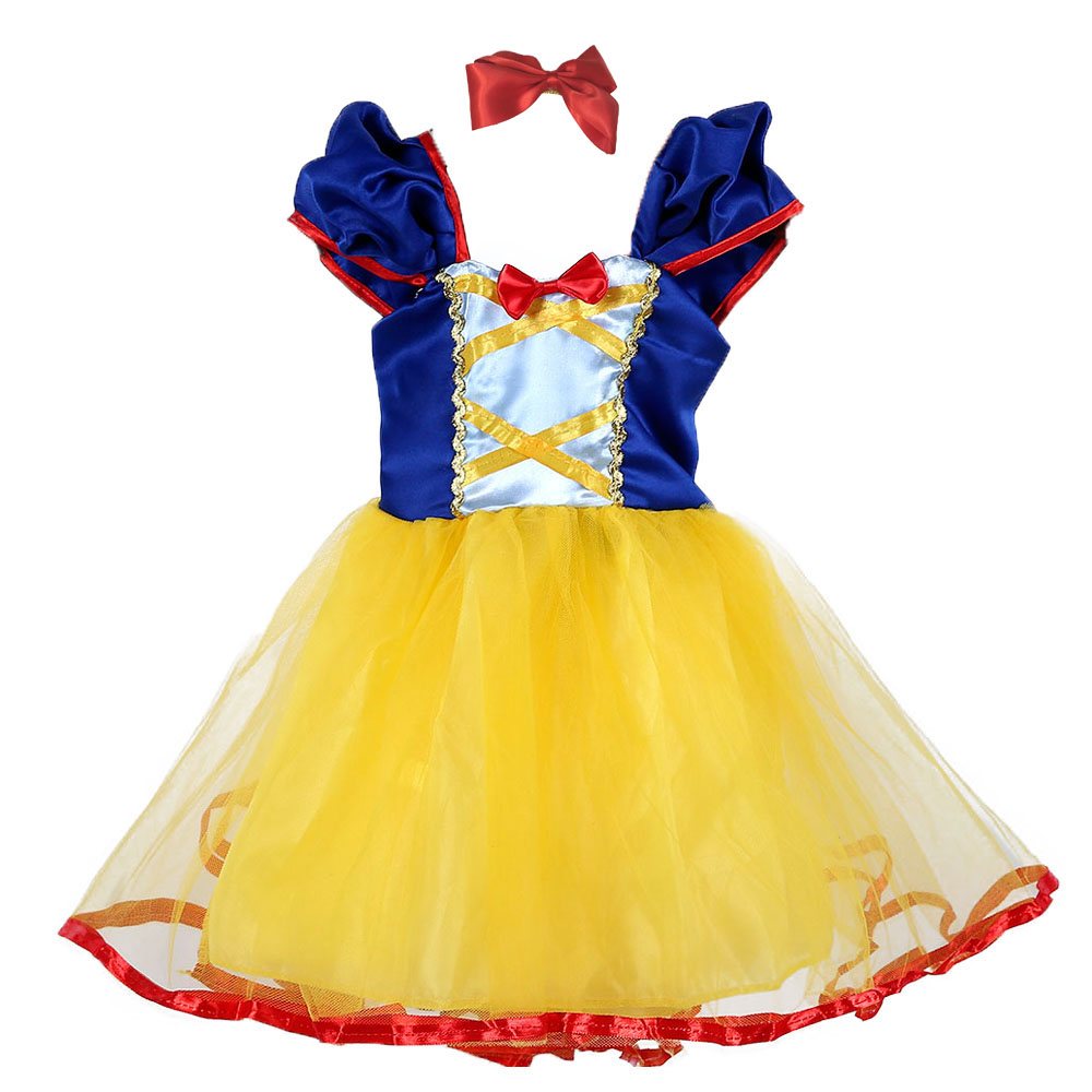 Fantasia de princesa amarela com laço vermelho, vestido de festa para meninas, aniversário, princesa, branco de neve, bonito, roupas de primavera, verão