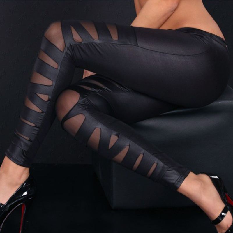 2020 Hot Sale Fashion Women High Waist Leather Stretch Pants Casual Patchwork Ankle Length Pants