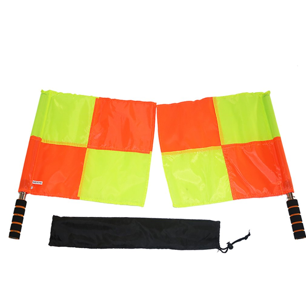1Pair Soccer Referee Flags Professional Fair Play Football Linesman Flags With Storage Bag Sports Game Referee Equipment