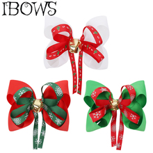 3Pcs/Lot 4 Christmas Hair Bows Santa Twinkle Bells Dog Happy New Year Clip Girls Party Accessories