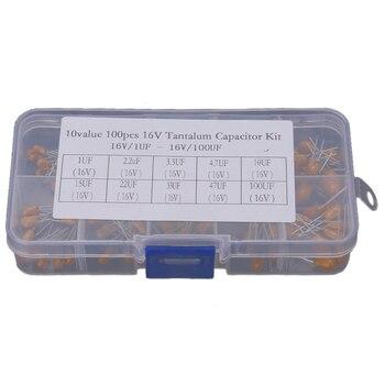 ¡Promoción! Condensador de tantalio 100 Uds. De alta precisión 16V 10 valores 1 Uf-100 Uf juego de surtido con caja