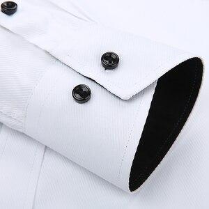 Image 5 - บุรุษเสื้อทำงานแบรนด์แขนยาวนุ่มคอปกติทึบ/ชายสิ่งทอลายทแยงชุดเสื้อสีขาวชายเสื้อ