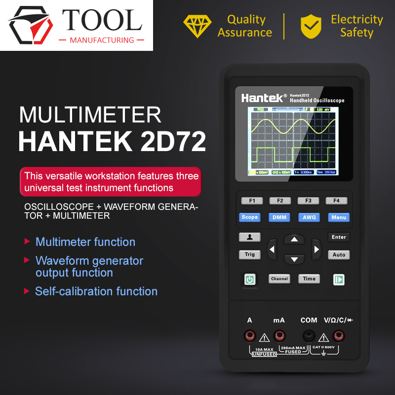Digital <font><b>Oscilloscope</b></font> <font><b>Hantek</b></font> 2D72 3 in 1 250MSa/S Waveform Generator Multimeter USB Portable 2 Channel <font><b>40mhz</b></font> 70mhz Multifunction image