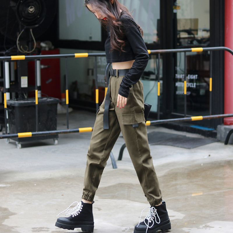 Women Fashion Streetwear Cargo Pants Army Green Ankle Length Joggers Female Loose Trousers Casual Plus Size Korean Style Pants