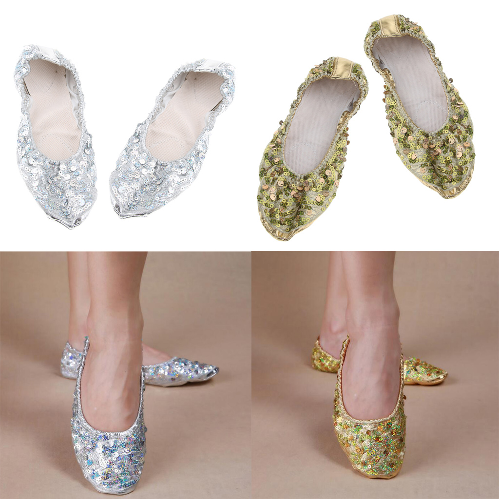 Womens PU Leather Ballet Belly Slippers Ballroom Dance Shoes With Soft Split-Sole