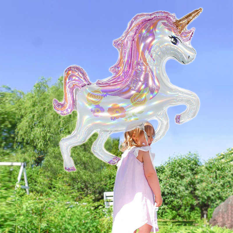 Unicorn Perlengkapan Dekorasi Pesta 3D Besar Unicornio Berjalan Hewan Balon Foil Baby Shower Gadis Ulang Tahun Tema Dekorasi Pesta