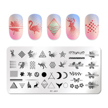 PICT YOU AnimalNail Stamping Plates Stainless Steel Geometric Nail Image Stamp Plate Brird Butterfly Stamping Templates Tools