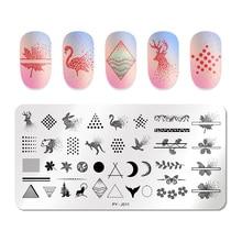 PICT YOU AnimalNail placas de estampación para uñas, placa de estampación con imágenes de uñas geométricas de acero inoxidable, estampado de plantillas de mariposas