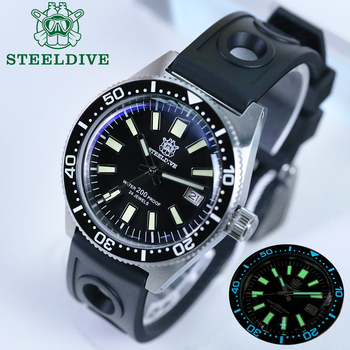 STEELDIVE 1962 Automatic Watch Sapphire NH35 Diver Watch 200m Mens Stainless Steel Watches C3 Super Luminous Mechanical Watches