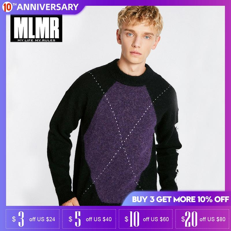 MLMR Winter Containing Mohair Wool Plaids Round Collar Sweater  218424518