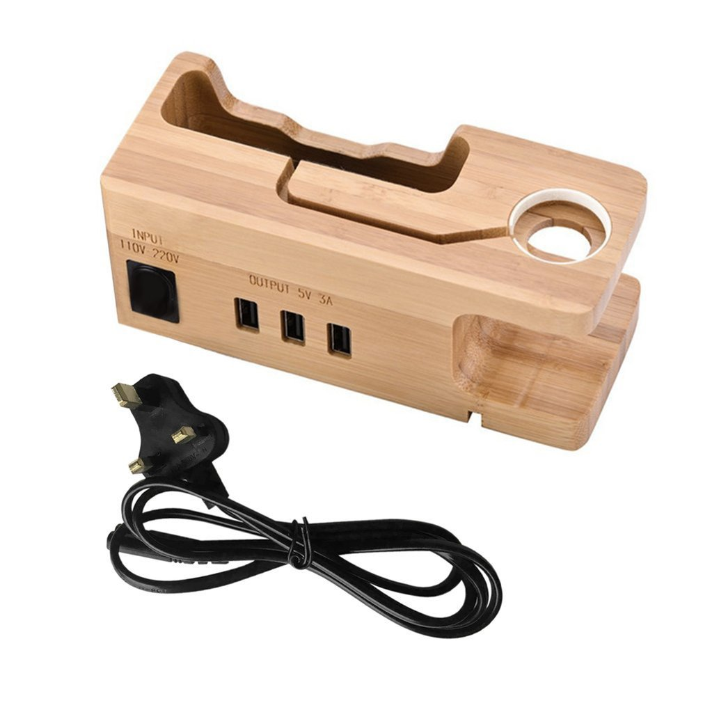 Bamboo Wood 3-port USB Charging Dock Station Holder For IPhone For IWatch Universal Desktop Charging Cradle Bracket Stand