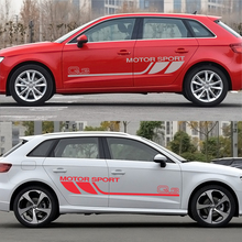 2 Pcs Sports Car Door Side Stickers for Audi Q3 Graphic Vinyl Film Car Body Decoration Stickers Car Accessories car accessories 2 pcs gradient side door stripe racing graphic vinyl car sticker for ford ranger 2012 2013 2014 2015 2016