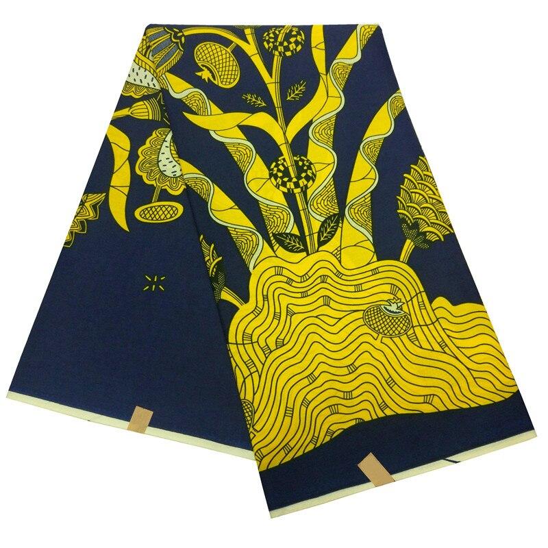Veritable Wax African Nigerian Ankara Wax Printed Fabric Gold Flowers Print Fabric For Dress