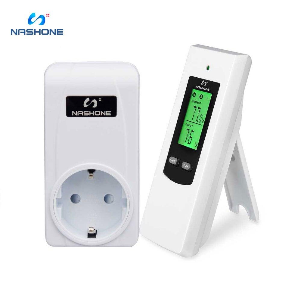 Nashone, controlador de temperatura, termostato inalámbrico, para habitación, calefacción, termostato, control LCD, 230V, zócalo del termostato, 433mhz, EU,
