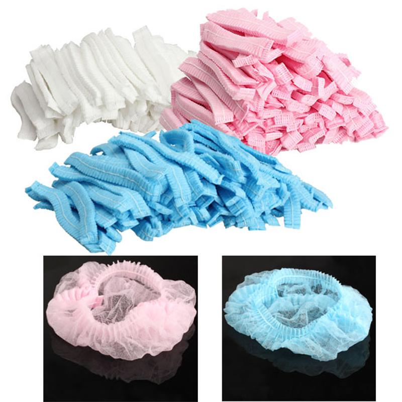 Disposable Salon Hair Styling Caps Shower Cap Non Woven Pleated Anti Dust Hat Caps For Hairdressing Salon Caps