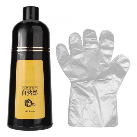 Tintura de Cabelo Cuidados com o Cabelo Cor do Cabelo Cera Natural Planta Cabelo Preto Shampoo Coloração 400ml