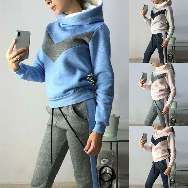 Vertvie Winter Sports Suits Velvet Hoodies Coat Lace Up Pants Fleece Women Running Sportswear Warm Tracksuit Thicken Clothing
