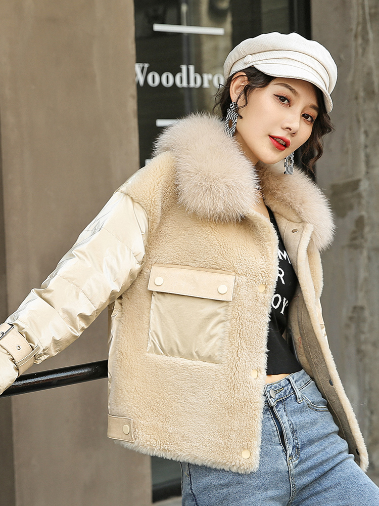 Real 2020 Fur Coat Female Lamb Fur Down Jacket Winter Coat Women Real Fox Fur Collar 100% Wool Coat Manteau Femme B8907