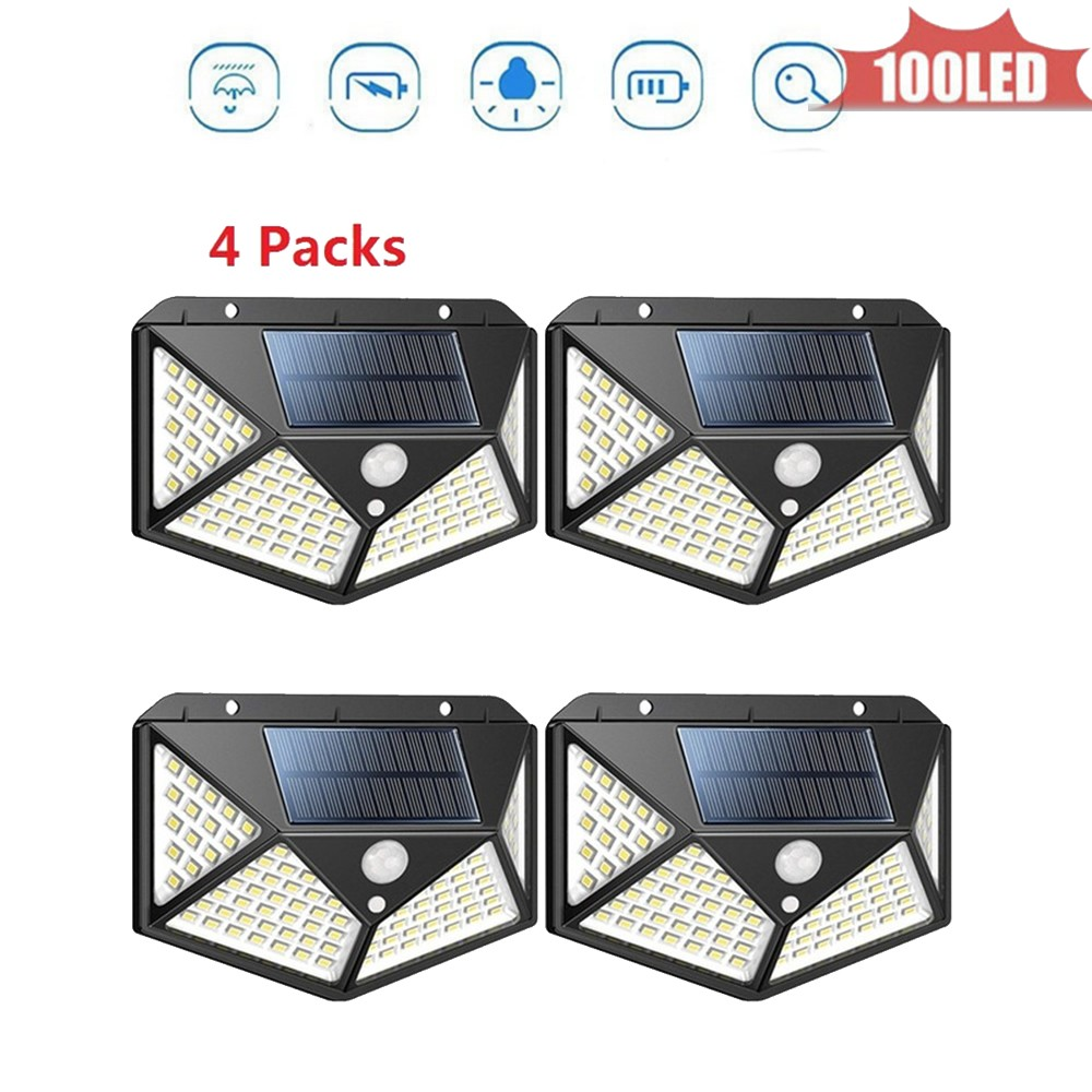 100 led Solar Lamp 4 sided  Dark Light Auto On Smart solar garden Night Light Motion Detector High Sensitivity Outdoor Lighting