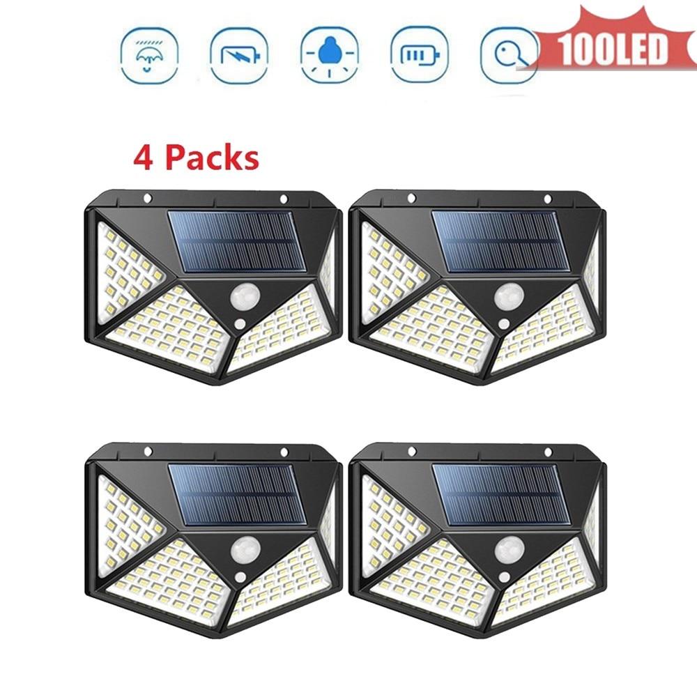 100 led Solar Lamp 4 sided  Dark Light Auto On Smart solar garden Night Light Motion Detector High Sensitivity Outdoor Lighting