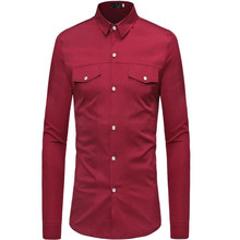 Plus size mens long sleeve shirt with lapel collar in autumn 2019
