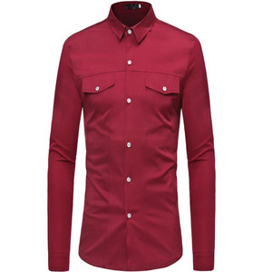 Image 1 - Plus size mens long sleeve shirt with lapel collar in autumn 2019