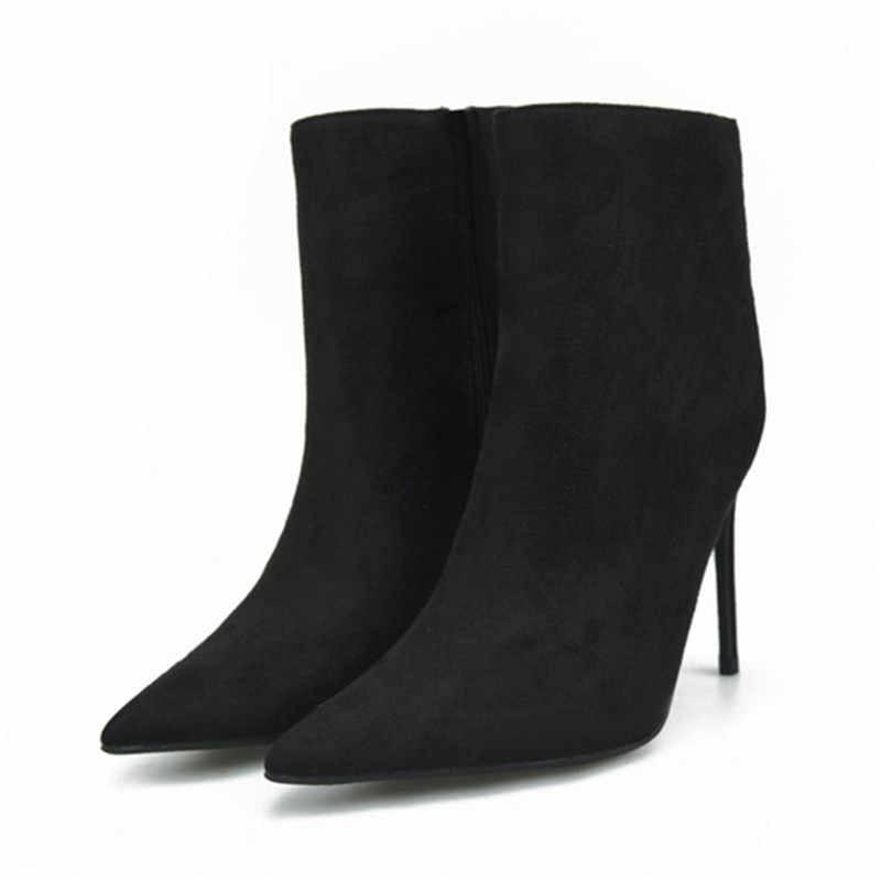 KATELVADI Botas Ankle Boots para As Mulheres Apontou Toe Rebanho Laranja K-480 10 CENTÍMETROS Botas De Salto Alto Sapatos Moda Mulher