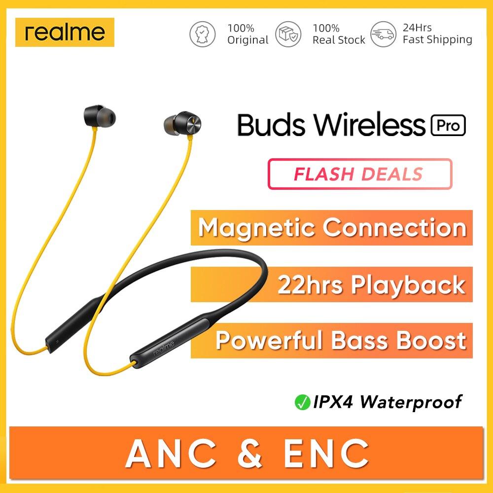 Спортивная гарнитура realme Buds Wireless Pro ANC ENC с активным шумоподавлением, желтая, 22 часа воспроизведения, Bluetooth 5,0, наушники AAC, SBC