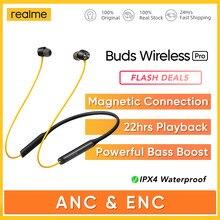 Realme – écouteurs sans fil Bluetooth 5.0 Pro ANC ENC, casque d'écoute de sport jaune, 22 heures de lecture, antibruit actif, AAC, SBC