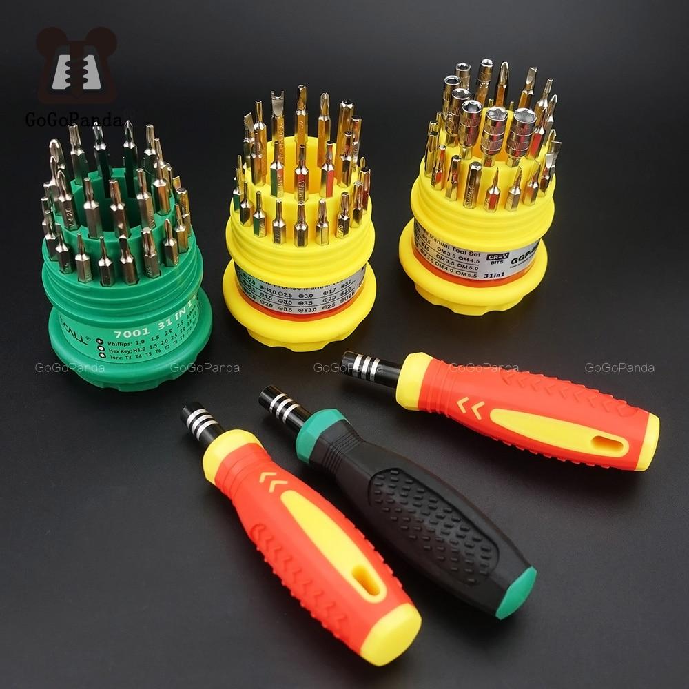 Tasuta kohaletoimetamine täpsusega käepidemega kruvikeerajate komplekt 31 in 1 - mobiiltelefonide remondikomplekti tööriistad 7001