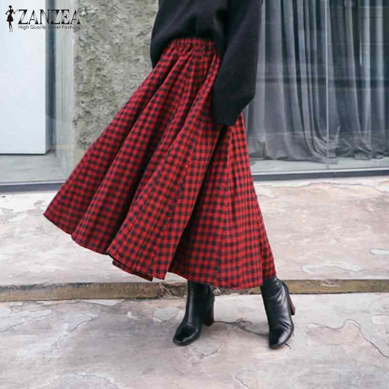 فستان نسائي غير رسمي من ZANZEA موضة صيف 2020 تنانير ميدي أنيقة عالية الخصر طويلة من Vestidos رداء نسائي منقوش متوفر بمقاسات كبيرة حتى 5XL