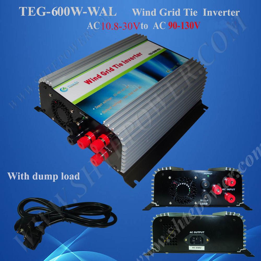 wind power grid tie inverter 600w, 3 phase grid tie inverter ac 10.5-30v 22-60v to 100v, 110v, 120v ac grid public power