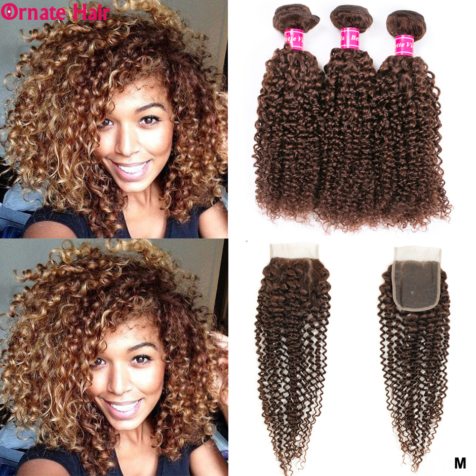 Pre-Colored Brazilian Hair Weave Bundles Kinky Curly Bundles With Closure Non-Remy Human Hair Bundles With Closure Middle Ratio