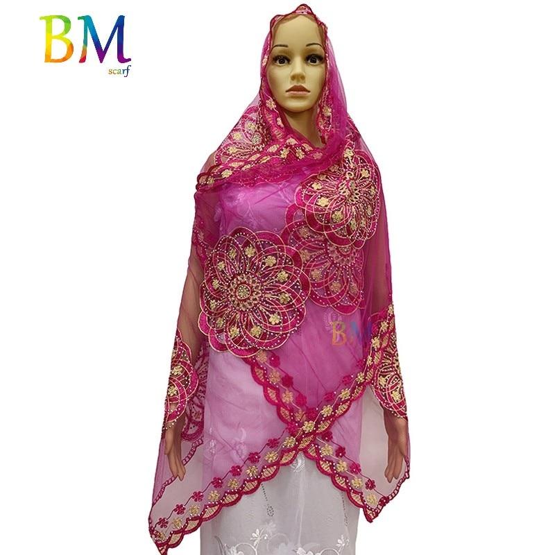 Latest African Women Scarf Muslim Women Scarf 200*50cm Small Net Scarf For Shawls BX11