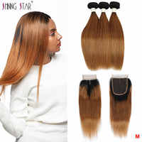 Ombre 30 Honey Blonde Bundles With Closure Brazilian Shining Star Remy Straight Human Hair Bundles With Closure With Baby Hair