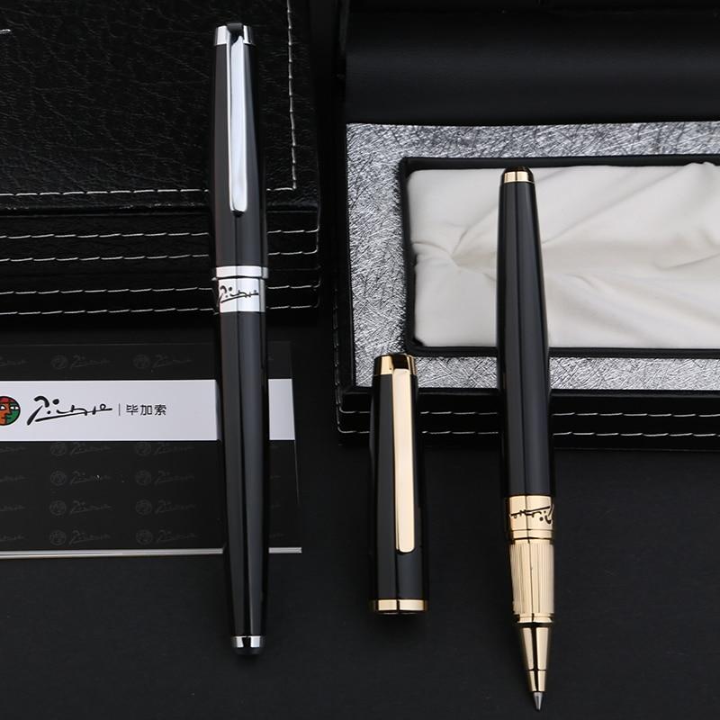 Haute qualité Pimio 918 lisse noir et or/argent Clip stylo à bille avec Original cadeau boîte bureau papeterie stylos à bille