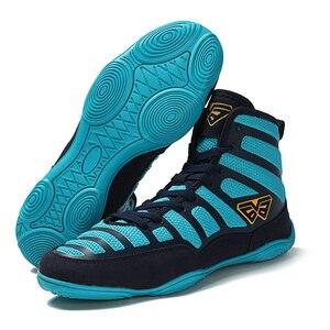 Zapatos de lucha de boxeo profesional para hombre, zapatillas de combate transpirables con suela de goma, botas de entrenamiento con cordones, novedad